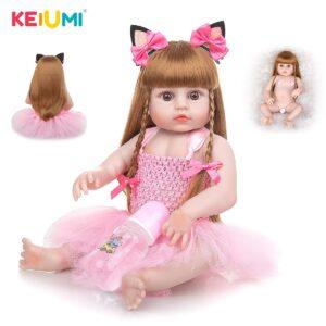 KEIUMI 19 Inch Reborn Baby Doll Realistic Full Silicone Body Bebe Reborn Menina Waterproof Toy For Birthday Christmas Gifts