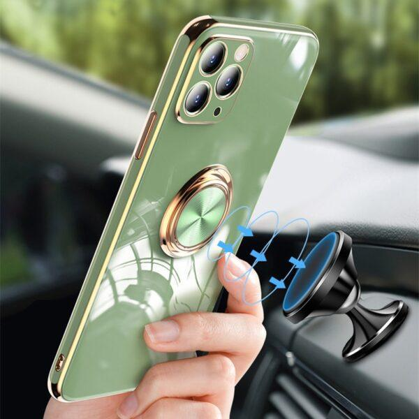 Plating Silicone Phone Case For iPhone 11 12 Pro Max 12 Mini XS Max X XR 8 7 Plus Solid Color Metal Ring Holder Soft Phone Cover